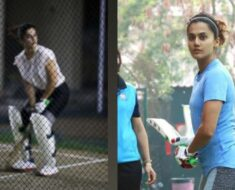 Taapsee Pannu works on her cricket skills as she preps for